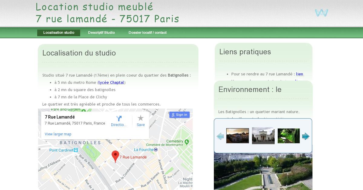 location studio meubl paris 17 me quartier des batignolles. Black Bedroom Furniture Sets. Home Design Ideas